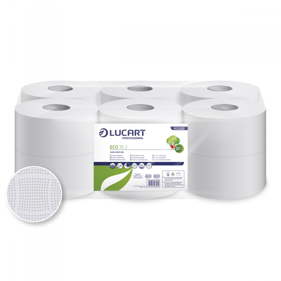 ECO 19 JUmbo, Mini 2 rétegű 75% fehérségű toalettpapír, 19 cm átm.